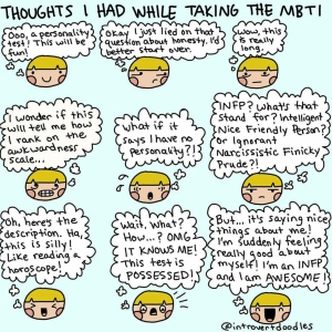 MBTI thoughts, image via @introvertdoodles